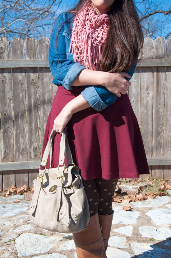 Burgundy and chambray with a powder pink scarf