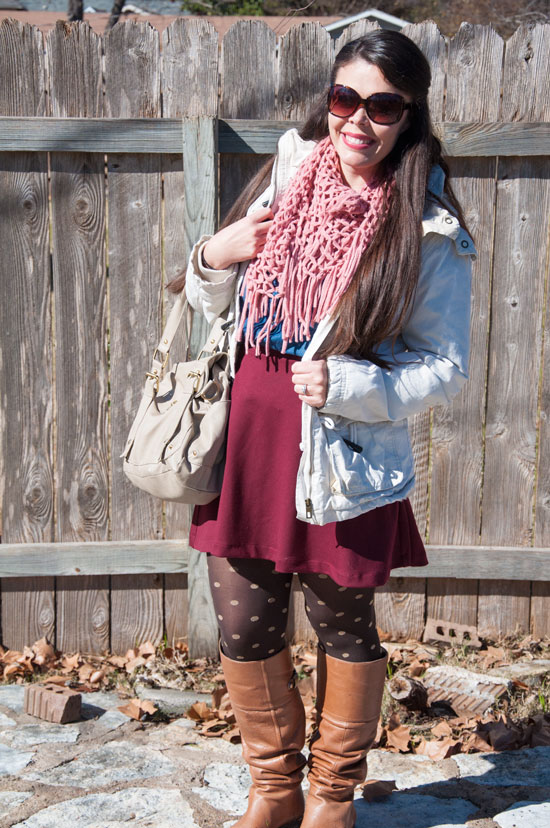 Burgundy skirt with pink scarf and khaki coat