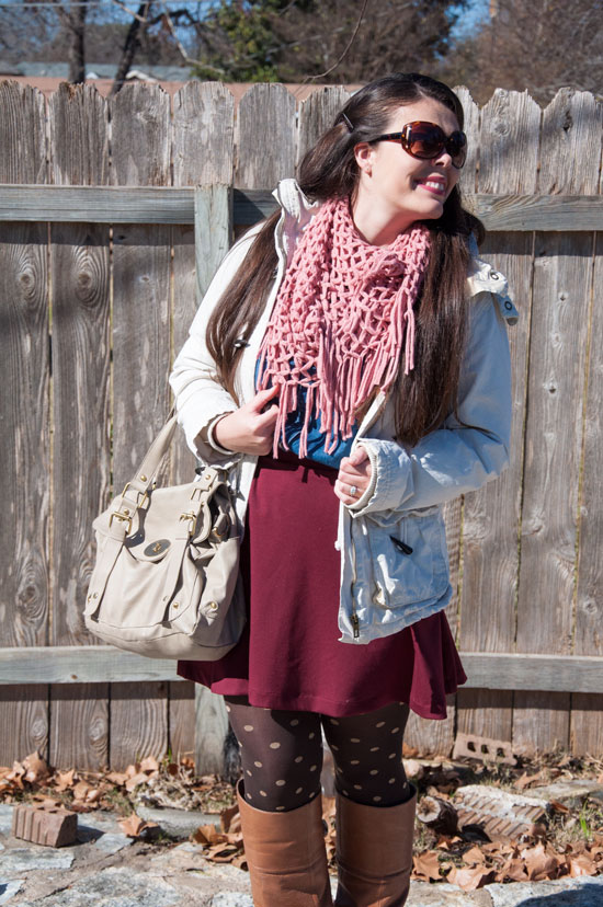 Burgundy skirt with polka dotted tights