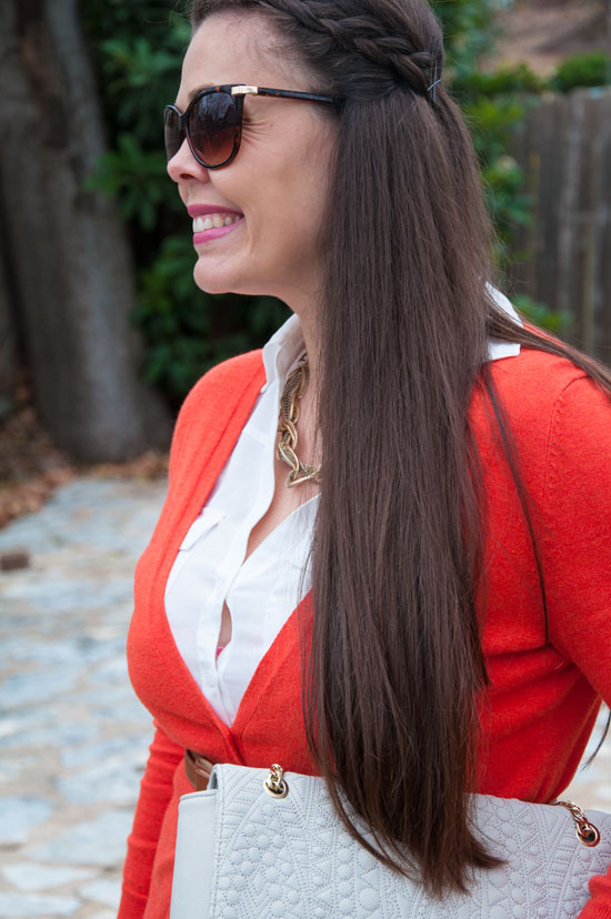 Burnt orange cardi with belt
