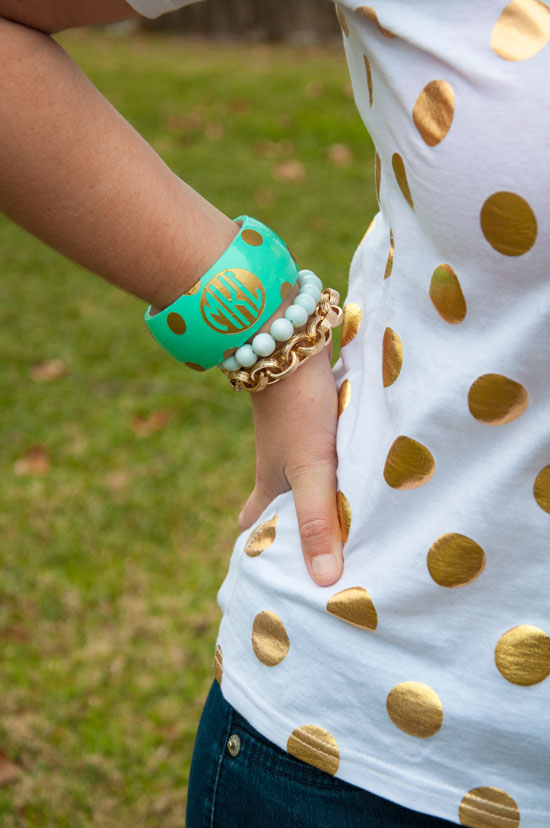 Gold dots top with mint and gold monogrammed bracelet