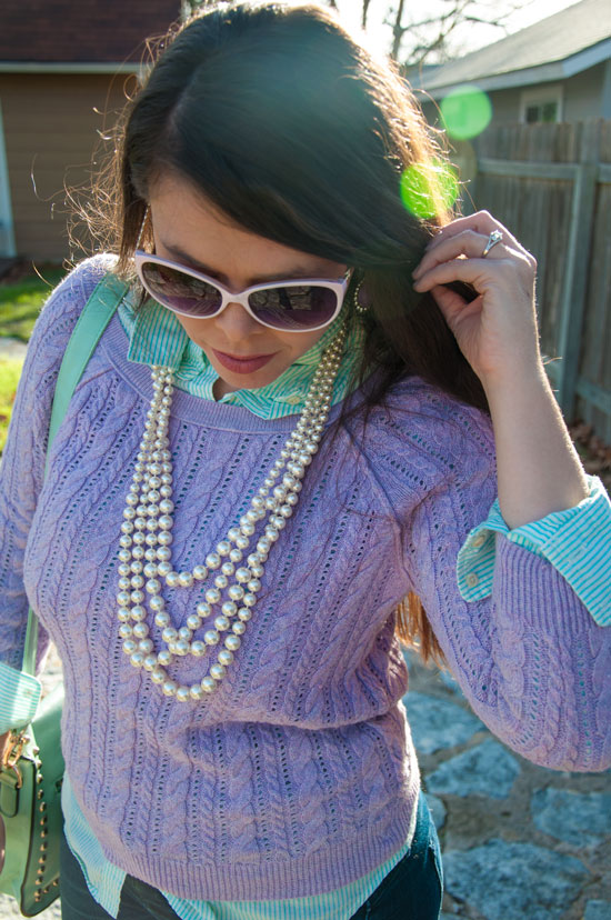 Layering like a pro- mint and lavendar