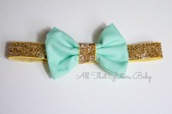 Mint Glitter Bow Headband