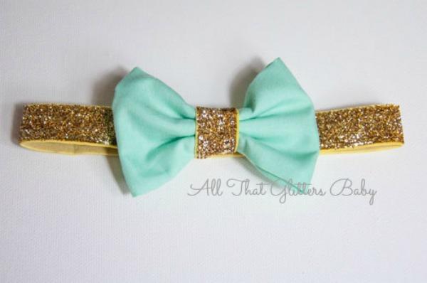 Mint Glitter Bow Headband