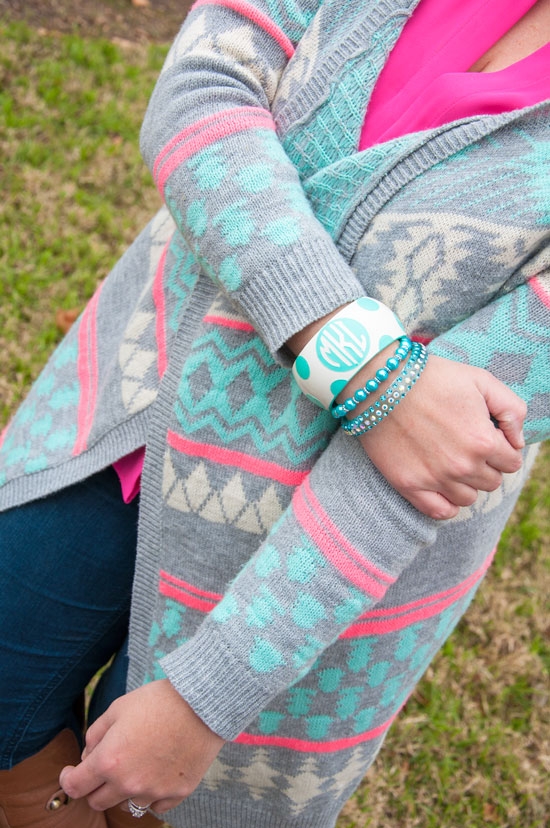 Mint and pink aztec sweater with mint monogrammed bracelet