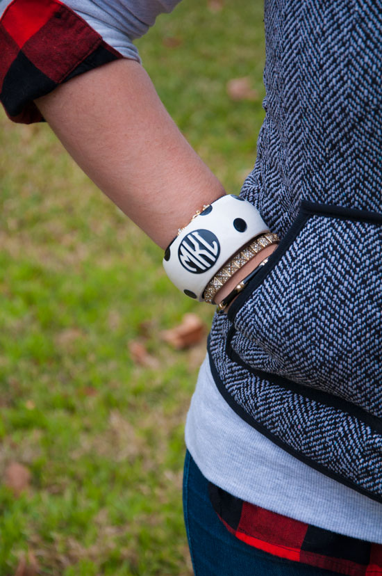 Monogrammed bracelet with plaid top and vest