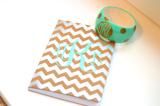 Monogrammed-notebook-and-bracelet