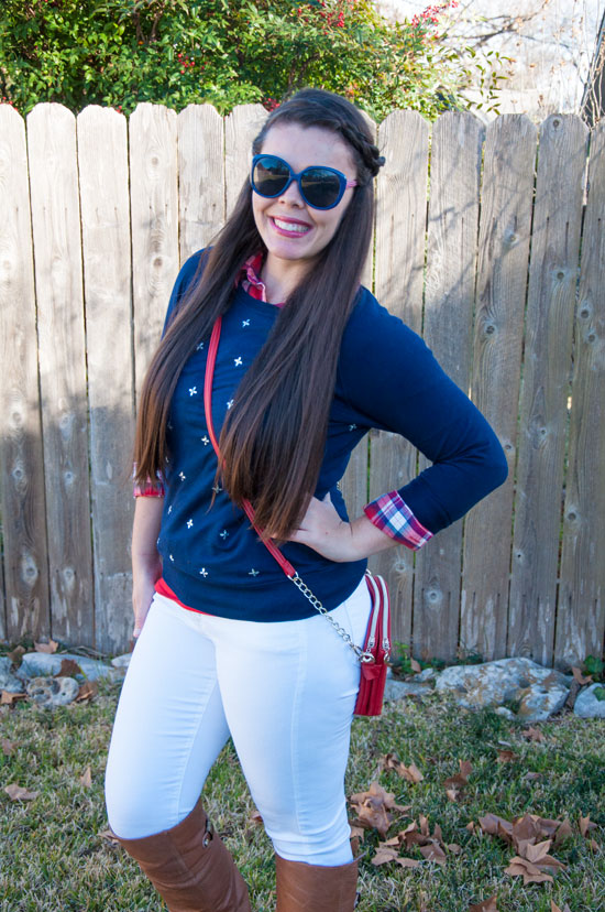 Nautical outfit with jeweled sweater