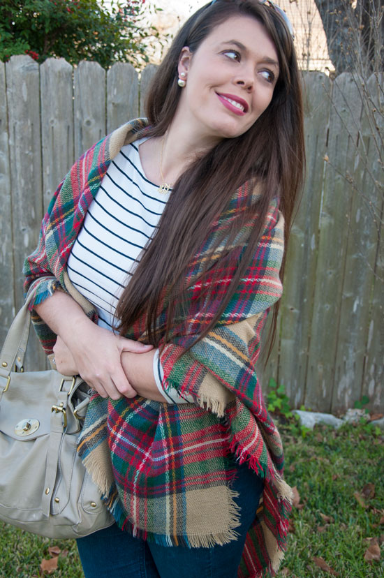 Pattern mix- plaid blanket scarf with striped shirt