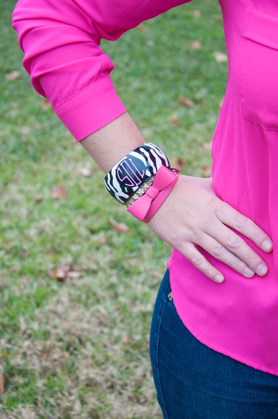 Pink and black monogrammed bracelet