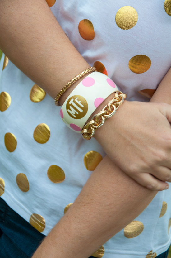 Pink and gold monogram bangle