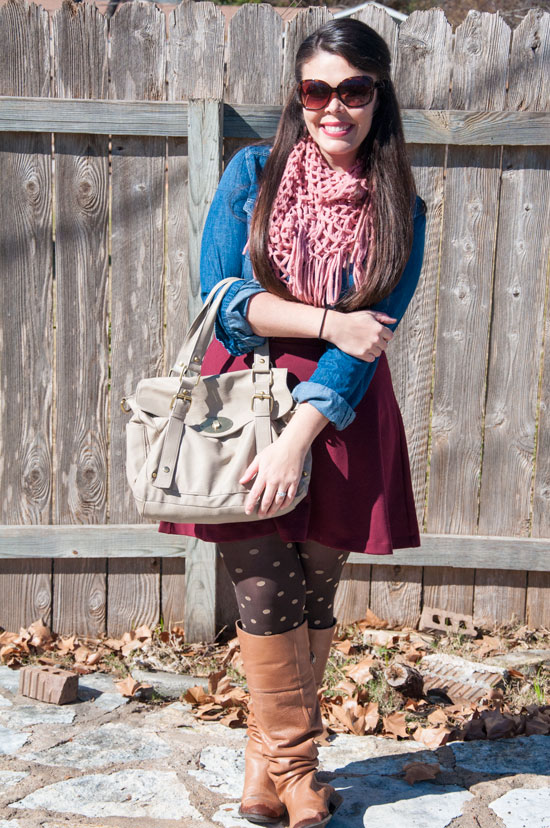 Pink, burgundy, and chambray outfit