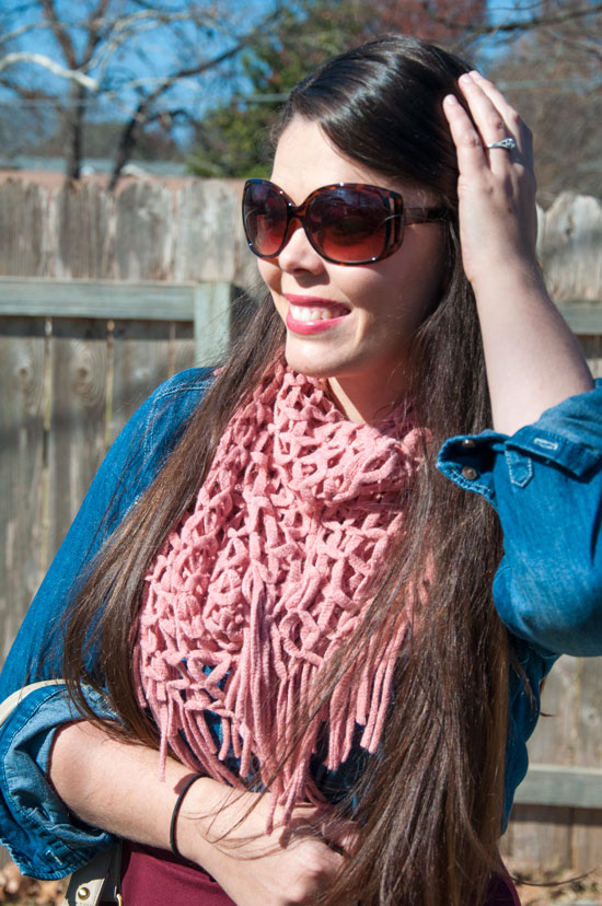 Pink infinity scarf with a chambray shirt