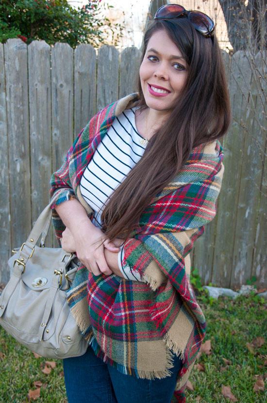 Plaid blanket scarf with a striped top