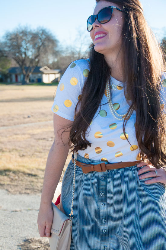 Seersucker skirt with polka dot top