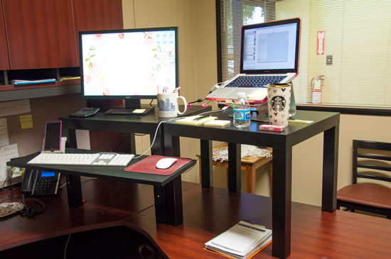 Standing Desk made from Ikea furniture