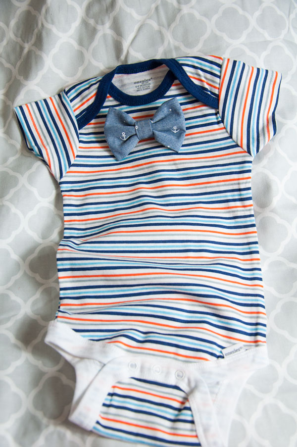 Striped Onsie with Anchor Bow Tie