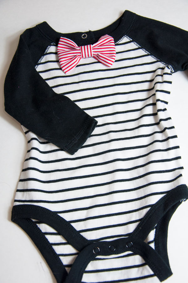 Striped Onsie with Red Bow Tie