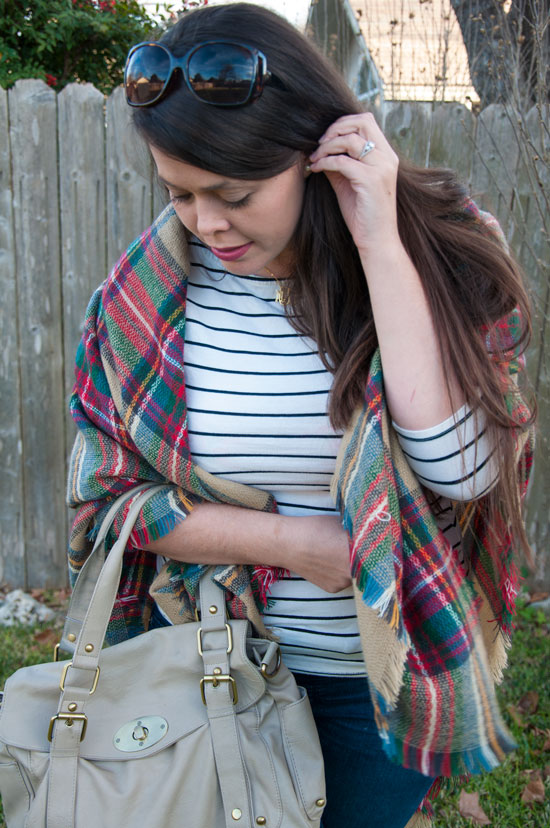 Zara look a like blanket scarf with a striped top