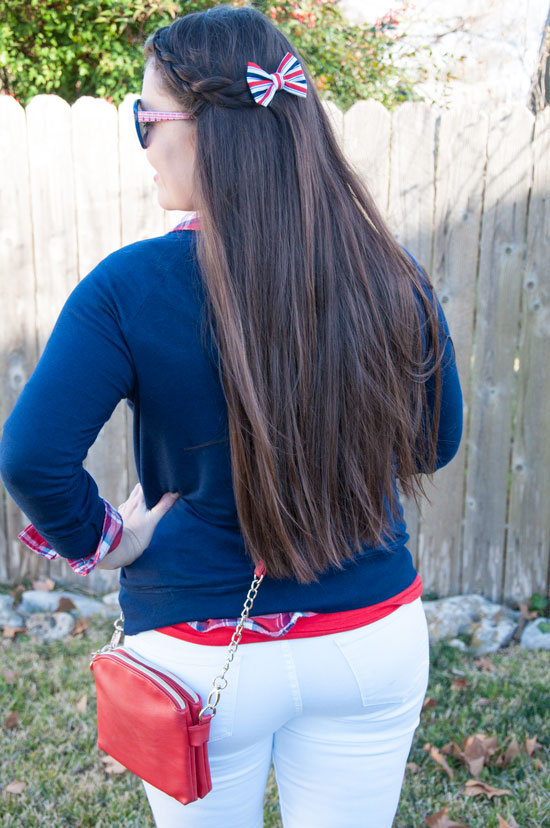 red white and blue hair bow clip