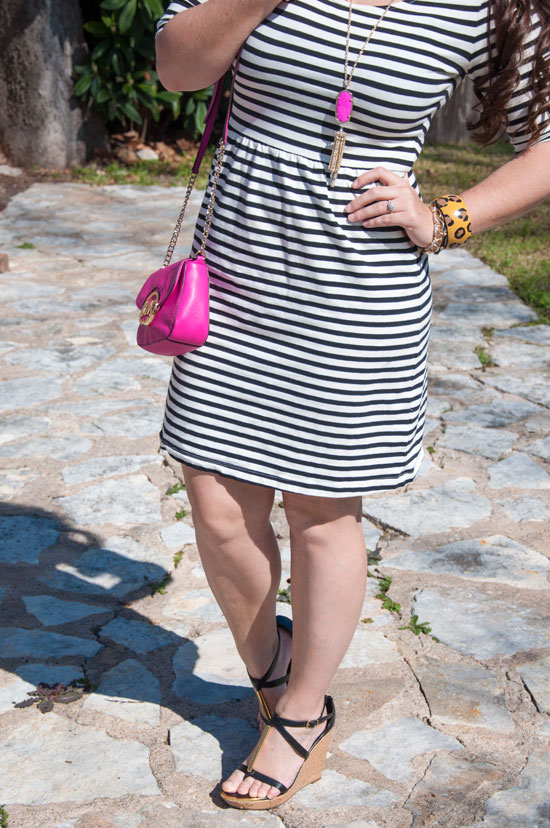 Black and white dress with pink accents- great spring outfit