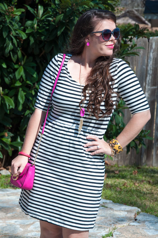 Black and white dress with pink accessories
