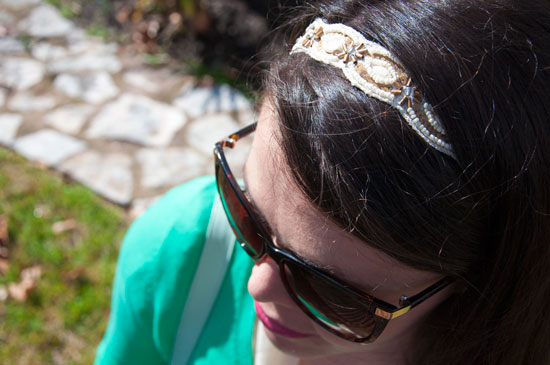 Gold and white headband