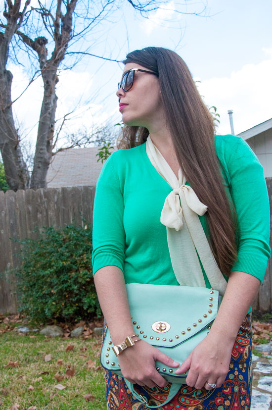 Green spring outfit- Target pencil skrit and Old Navy cardigan