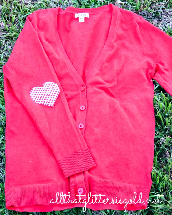 Heart Elbow Patch Cardigan DIY