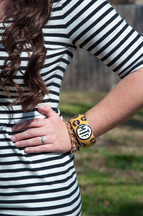 Leopard monogrammed bangle bracelet- Sweet Southern Things
