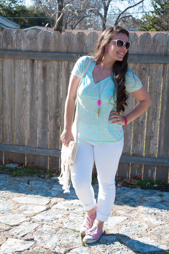 Mint Tee shirt with white denim and pink