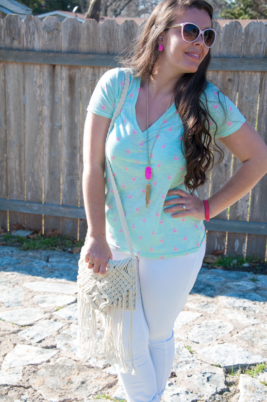 Mint, pink, and white outfit- Feb 2015