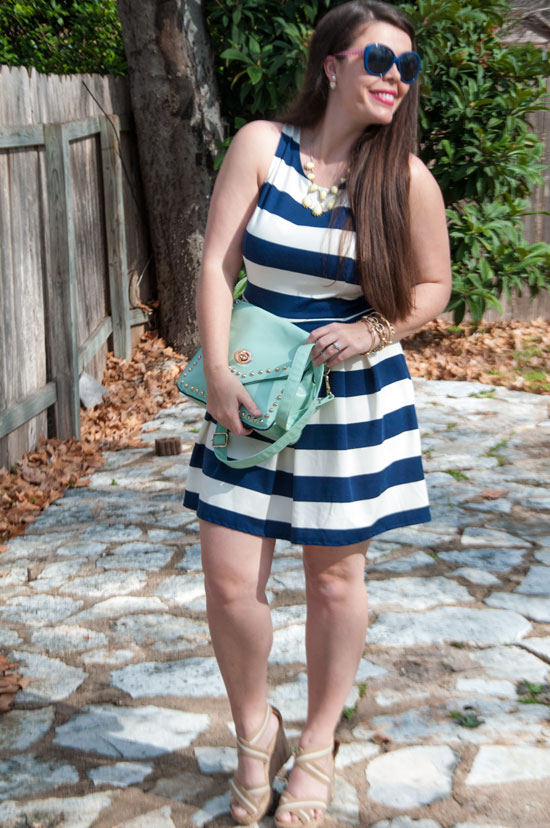 Navy and white nautical striped dress from Target