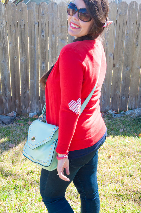 Red and mint outfit for Valentines day- cute elbow patches