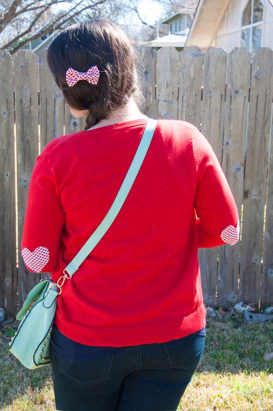 Red heart bow and heart elbow patches