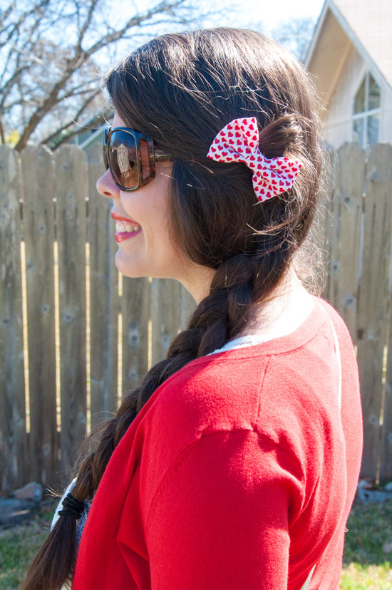 Red heart bow with a red cardigan Feb 2015