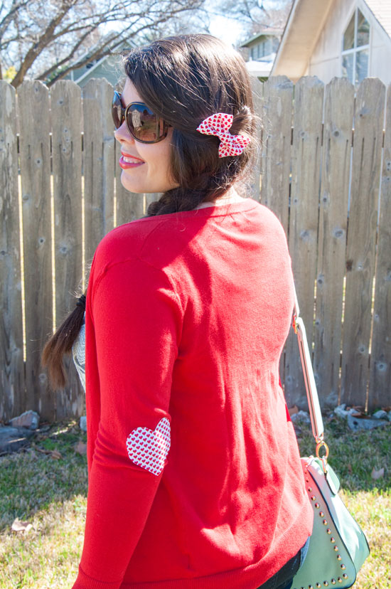 Red heart elbow patches and bow- perfect for Valentines day