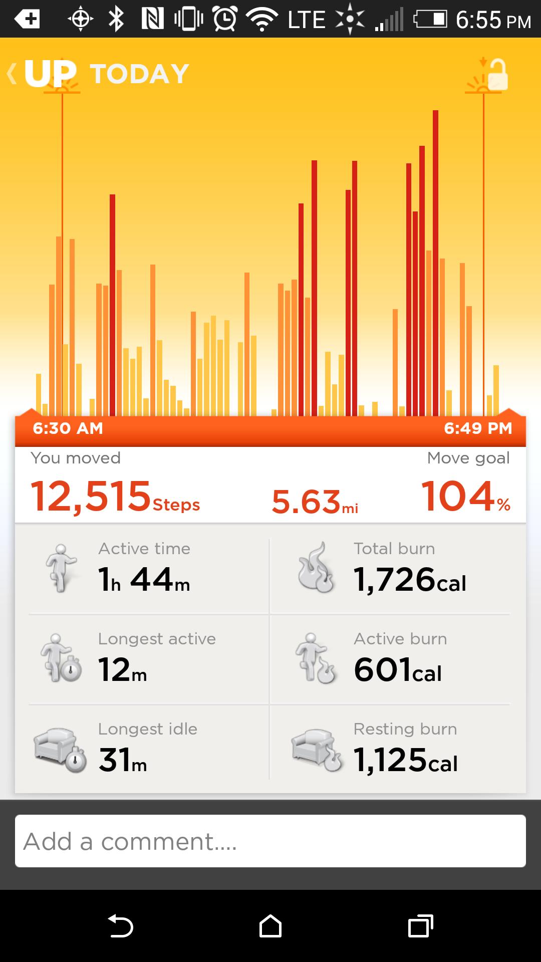 Jawbone App Steps
