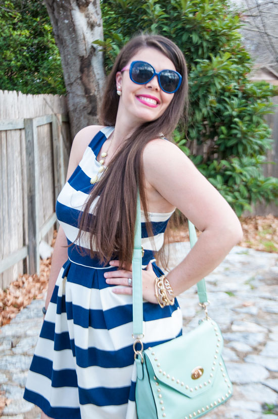 Target blue and white striped dress with mint handbag