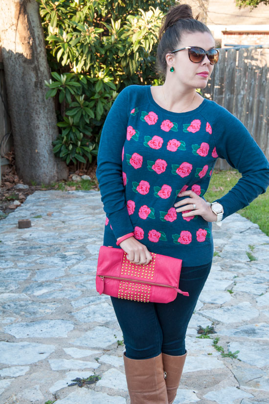 Target rose sweater with pink clutch