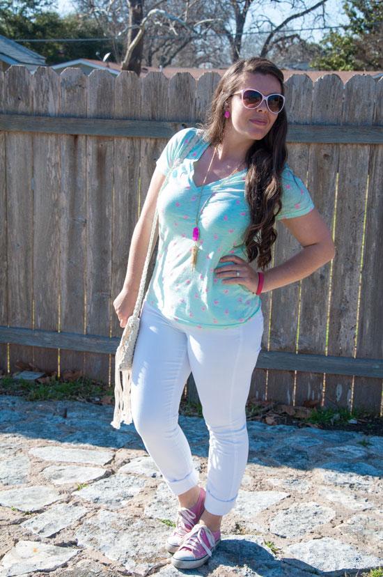 White denim with mint flamingo t-shirt