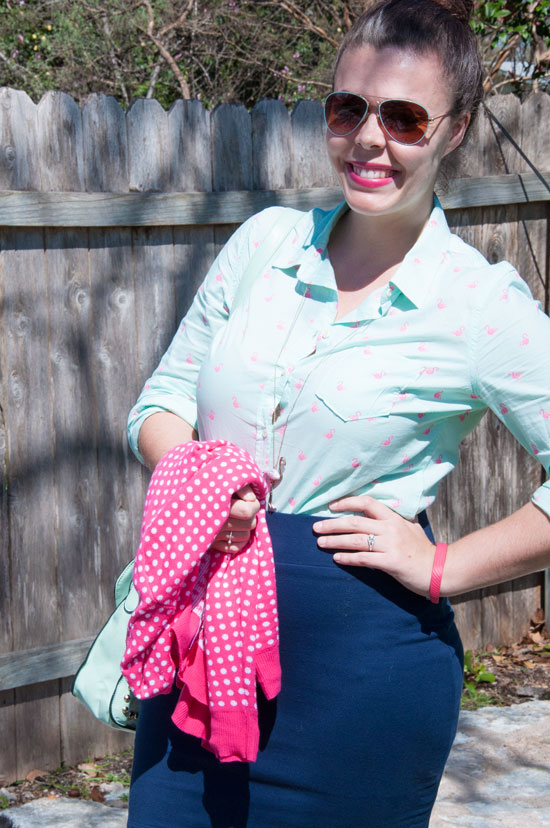 Mint flamingo top with pink cardigan