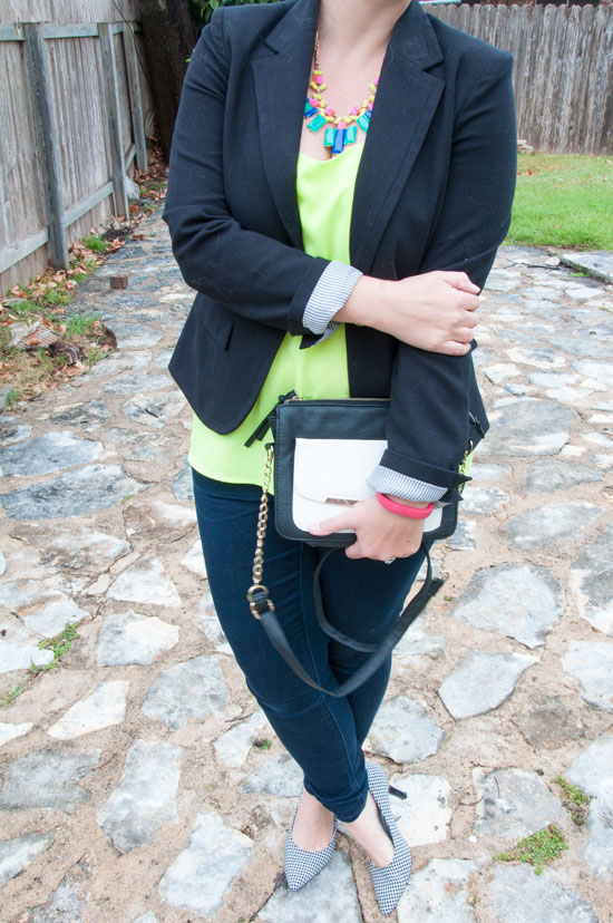 Neon tank top and black blazer