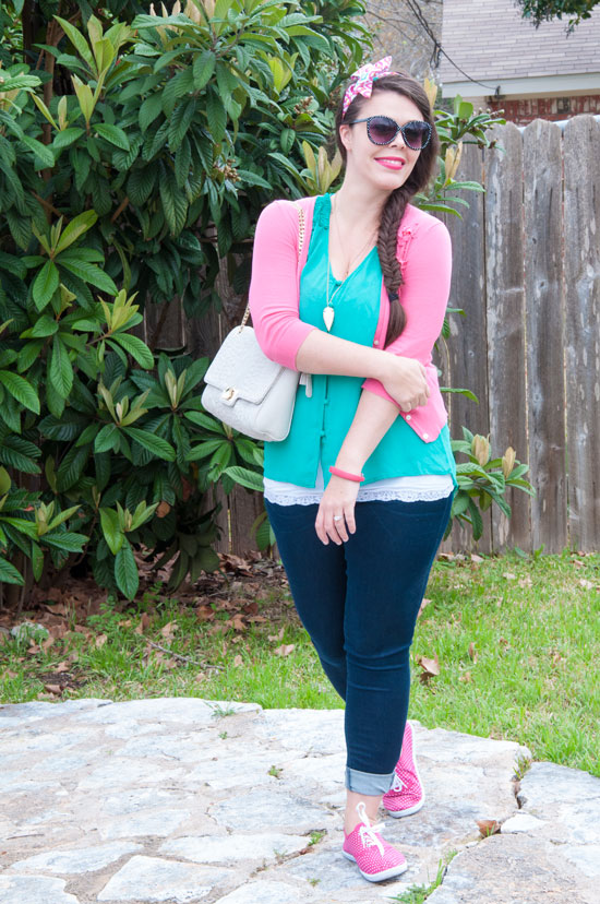 Pink and green outfit for spring