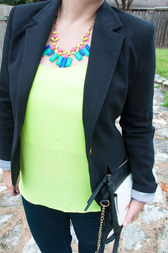 Yellow tank with colorful necklace and blazer