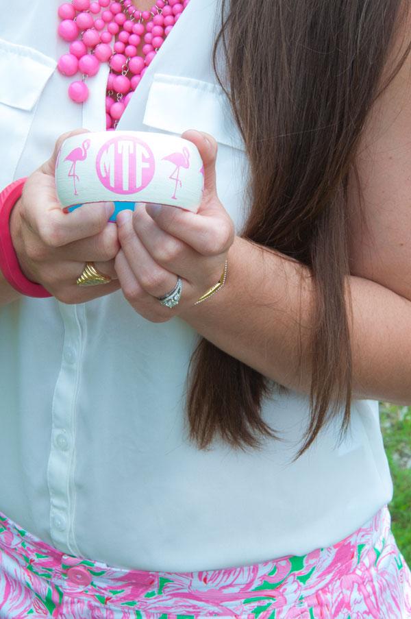 Flamingo Monogram Bracelet with lilly