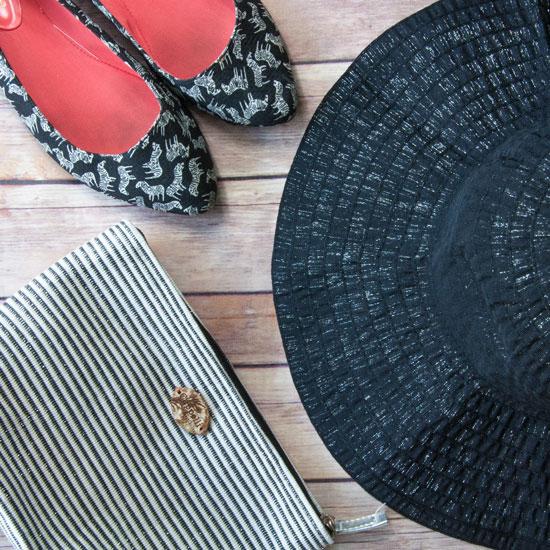 Floppy hat nd zebra shoes