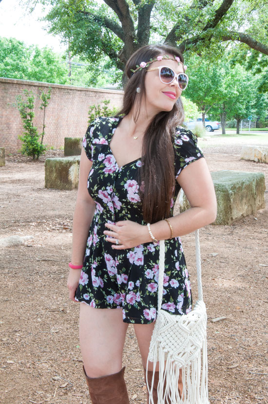 Floral headband with romper
