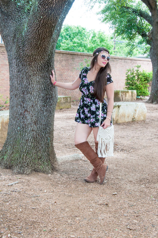 Floral romper with knee high boots