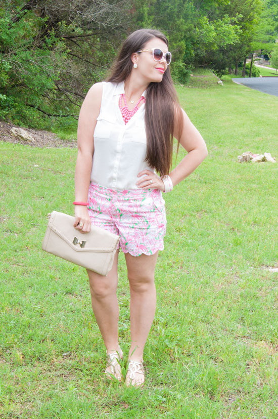 Lilly Pulitzer Buttercup Shorts in Flamingo Print